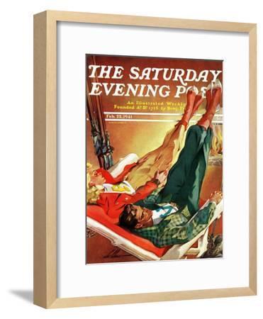 """Apres Ski,"" Saturday Evening Post Cover, February 22, 1941-Ski Weld-Framed Premium Giclee Print"