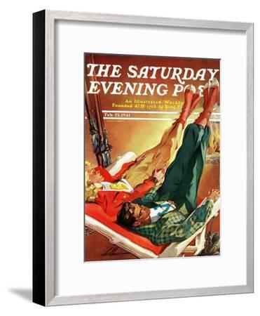 """Apres Ski,"" Saturday Evening Post Cover, February 22, 1941-Ski Weld-Framed Giclee Print"