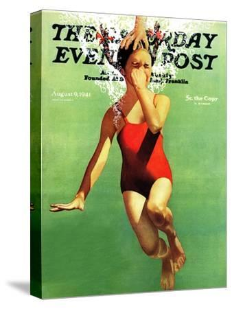 """""""Dunked Under Water,"""" Saturday Evening Post Cover, August 9, 1941-John Hyde Phillips-Stretched Canvas Print"""