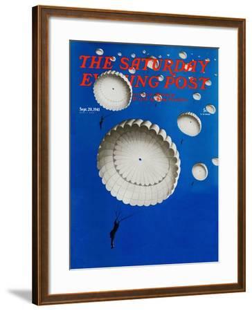 """""""Sky Full of White Parachutes,"""" Saturday Evening Post Cover, September 20, 1941-Arthur C^ Radebaugh-Framed Giclee Print"""