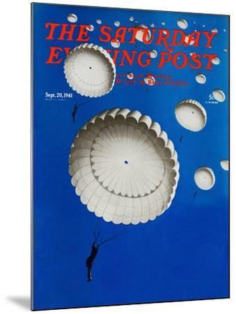 """Sky Full of White Parachutes,"" Saturday Evening Post Cover, September 20, 1941-Arthur C^ Radebaugh-Mounted Giclee Print"