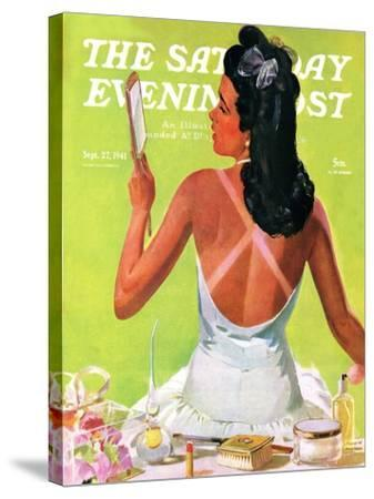 """""""Tan Lines,"""" Saturday Evening Post Cover, September 27, 1941-Albert W^ Hampson-Stretched Canvas Print"""