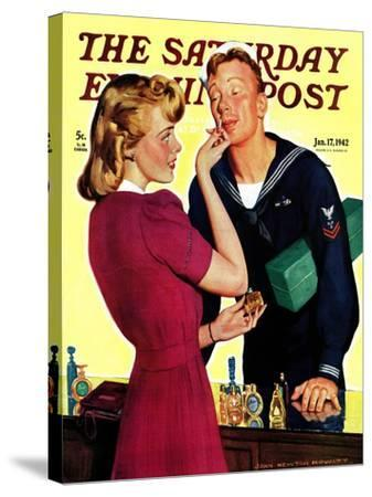 """""""Sailor Sniffing Perfume,"""" Saturday Evening Post Cover, January 17, 1942-John Newton Howitt-Stretched Canvas Print"""