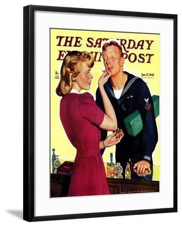 """Sailor Sniffing Perfume,"" Saturday Evening Post Cover, January 17, 1942-John Newton Howitt-Framed Giclee Print"