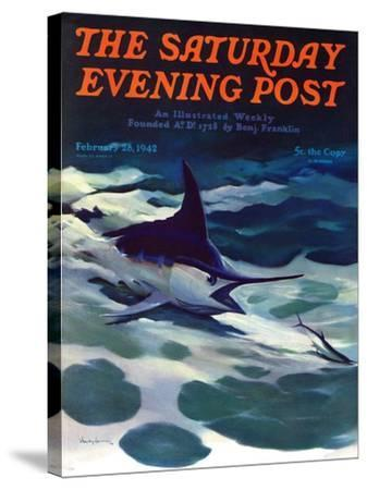 """""""Swordfish,"""" Saturday Evening Post Cover, February 28, 1942-William Goadby Lawrence-Stretched Canvas Print"""