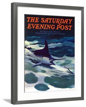 """Swordfish,"" Saturday Evening Post Cover, February 28, 1942-William Goadby Lawrence-Framed Giclee Print"