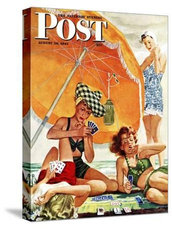 """Card Game at the Beach,"" Saturday Evening Post Cover, August 28, 1943-Alex Ross-Stretched Canvas Print"