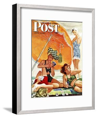 """Card Game at the Beach,"" Saturday Evening Post Cover, August 28, 1943-Alex Ross-Framed Premium Giclee Print"
