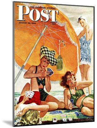 """Card Game at the Beach,"" Saturday Evening Post Cover, August 28, 1943-Alex Ross-Mounted Premium Giclee Print"