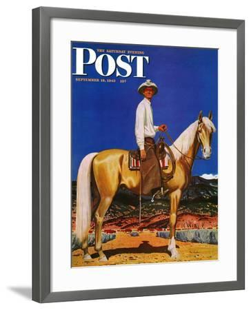 """""""Cowboy on Palomino,"""" Saturday Evening Post Cover, September 18, 1943-Fred Ludekens-Framed Giclee Print"""
