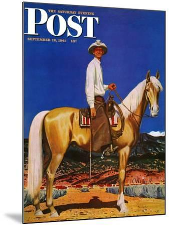 """""""Cowboy on Palomino,"""" Saturday Evening Post Cover, September 18, 1943-Fred Ludekens-Mounted Giclee Print"""