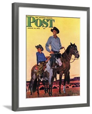 """Surveying the Ranch,"" Saturday Evening Post Cover, August 19, 1944-Fred Ludekens-Framed Giclee Print"