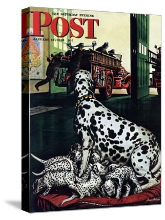 """""""Dalmatian and Pups,"""" Saturday Evening Post Cover, January 13, 1945-Stevan Dohanos-Stretched Canvas Print"""