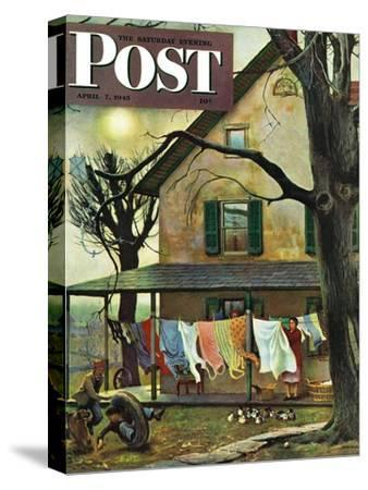 """Hanging Clothes Out to Dry,"" Saturday Evening Post Cover, April 7, 1945-John Falter-Stretched Canvas Print"