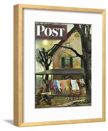"""Hanging Clothes Out to Dry,"" Saturday Evening Post Cover, April 7, 1945-John Falter-Framed Premium Giclee Print"