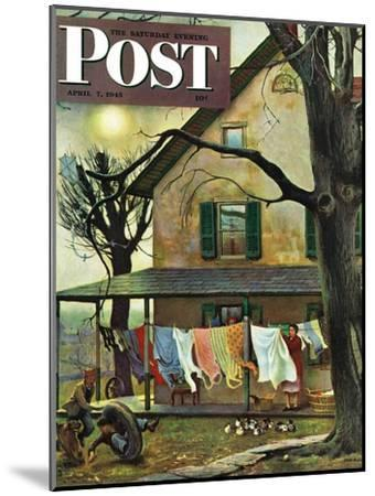 """Hanging Clothes Out to Dry,"" Saturday Evening Post Cover, April 7, 1945-John Falter-Mounted Premium Giclee Print"