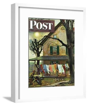 """""""Hanging Clothes Out to Dry,"""" Saturday Evening Post Cover, April 7, 1945-John Falter-Framed Giclee Print"""
