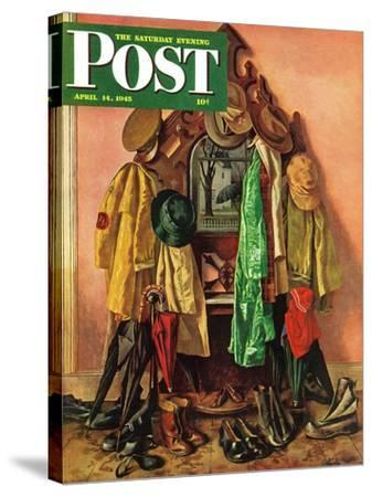 """Loaded Coat Rack,"" Saturday Evening Post Cover, April 14, 1945-John Atherton-Stretched Canvas Print"