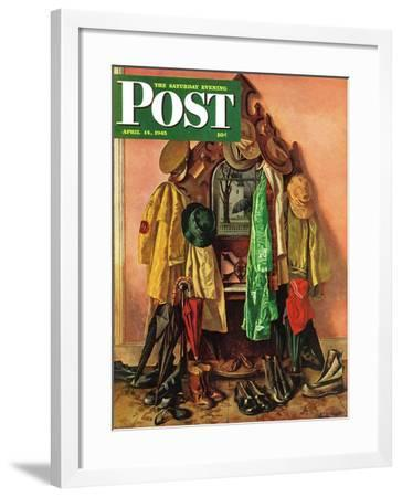 """Loaded Coat Rack,"" Saturday Evening Post Cover, April 14, 1945-John Atherton-Framed Giclee Print"