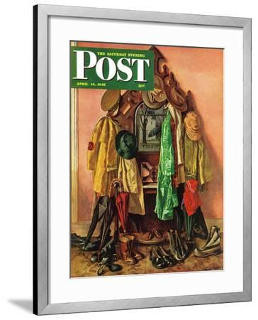 """Loaded Coat Rack,"" Saturday Evening Post Cover, April 14, 1945-John Atherton-Framed Giclee Print"