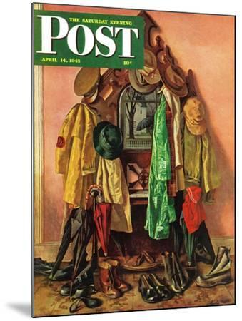 """Loaded Coat Rack,"" Saturday Evening Post Cover, April 14, 1945-John Atherton-Mounted Giclee Print"