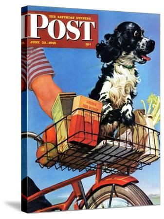 """""""Butch's Bike Ride,"""" Saturday Evening Post Cover, June 23, 1945-Albert Staehle-Stretched Canvas Print"""