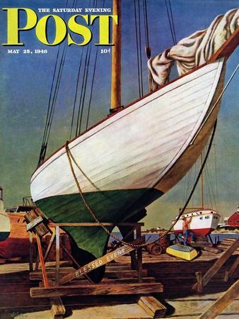 """""""Dry Dock,"""" Saturday Evening Post Cover, May 25, 1946-John Atherton-Framed Giclee Print"""