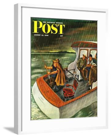"""Deep Sea Fishing in Rain,"" Saturday Evening Post Cover, August 31, 1946-Constantin Alajalov-Framed Giclee Print"