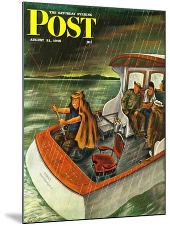 """""""Deep Sea Fishing in Rain,"""" Saturday Evening Post Cover, August 31, 1946-Constantin Alajalov-Mounted Giclee Print"""