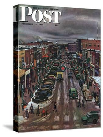 """Falls City, Nebraska at Christmas,"" Saturday Evening Post Cover, December 21, 1946-John Falter-Stretched Canvas Print"