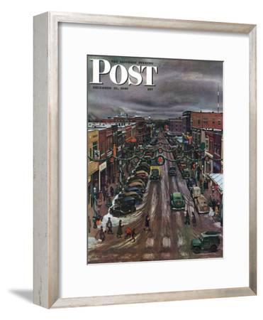 """Falls City, Nebraska at Christmas,"" Saturday Evening Post Cover, December 21, 1946-John Falter-Framed Premium Giclee Print"