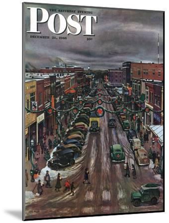 """Falls City, Nebraska at Christmas,"" Saturday Evening Post Cover, December 21, 1946-John Falter-Mounted Premium Giclee Print"