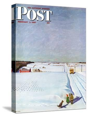 """""""Waiting for School Bus in Snow,"""" Saturday Evening Post Cover, February 1, 1947-John Falter-Stretched Canvas Print"""