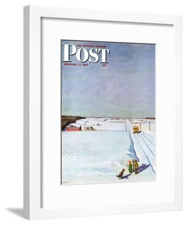 """""""Waiting for School Bus in Snow,"""" Saturday Evening Post Cover, February 1, 1947-John Falter-Framed Giclee Print"""