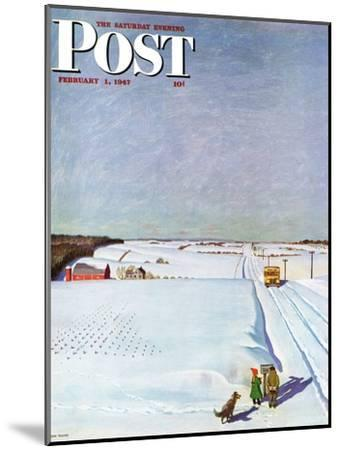 """""""Waiting for School Bus in Snow,"""" Saturday Evening Post Cover, February 1, 1947-John Falter-Mounted Giclee Print"""