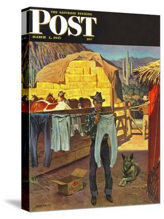 """""""Cowboy Hanging Out His Laundry,"""" Saturday Evening Post Cover, March 1, 1947-John Falter-Stretched Canvas Print"""