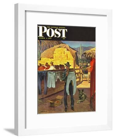 """""""Cowboy Hanging Out His Laundry,"""" Saturday Evening Post Cover, March 1, 1947-John Falter-Framed Premium Giclee Print"""