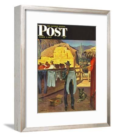 """""""Cowboy Hanging Out His Laundry,"""" Saturday Evening Post Cover, March 1, 1947-John Falter-Framed Giclee Print"""