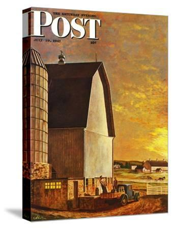 """Dairy Farm,"" Saturday Evening Post Cover, July 19, 1947-John Atherton-Stretched Canvas Print"