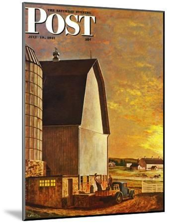 """Dairy Farm,"" Saturday Evening Post Cover, July 19, 1947-John Atherton-Mounted Giclee Print"