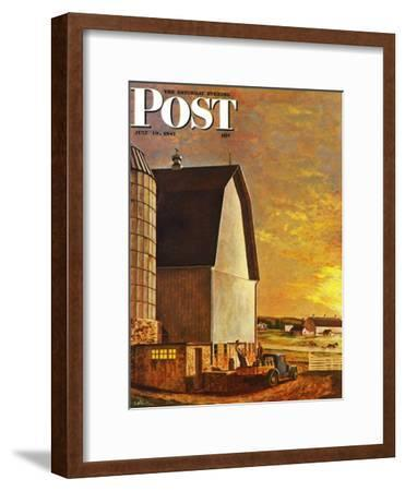 """Dairy Farm,"" Saturday Evening Post Cover, July 19, 1947-John Atherton-Framed Giclee Print"