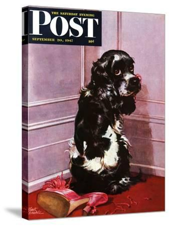 """""""Bad Dog, Butch,"""" Saturday Evening Post Cover, September 20, 1947-Albert Staehle-Stretched Canvas Print"""
