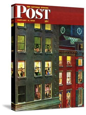 """Apartment Dwellers on New Year's Eve,"" Saturday Evening Post Cover, January 3, 1948-John Falter-Stretched Canvas Print"