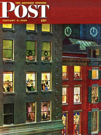 """""""Apartment Dwellers on New Year's Eve,"""" Saturday Evening Post Cover, January 3, 1948-John Falter-Premium Giclee Print"""