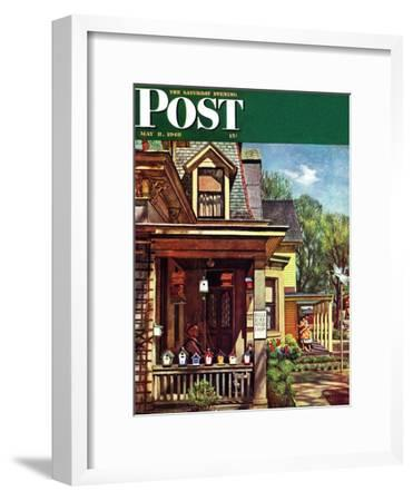 """Birdhouse Builder,"" Saturday Evening Post Cover, May 8, 1948-John Falter-Framed Giclee Print"