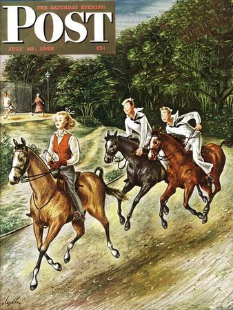 """""""Sailors on Girl Chase,"""" Saturday Evening Post Cover, July 10, 1948-Constantin Alajalov-Framed Giclee Print"""