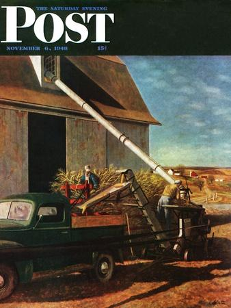 """Storing the Corn,"" Saturday Evening Post Cover, November 6, 1948-John Atherton-Framed Giclee Print"