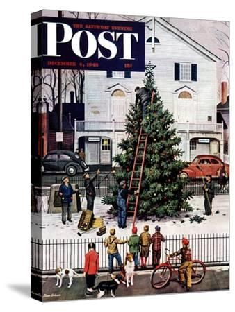 """Tree in Town Square,"" Saturday Evening Post Cover, December 4, 1948-Stevan Dohanos-Stretched Canvas Print"