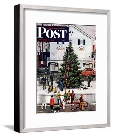 """Tree in Town Square,"" Saturday Evening Post Cover, December 4, 1948-Stevan Dohanos-Framed Premium Giclee Print"
