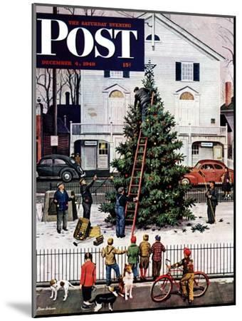 """Tree in Town Square,"" Saturday Evening Post Cover, December 4, 1948-Stevan Dohanos-Mounted Premium Giclee Print"